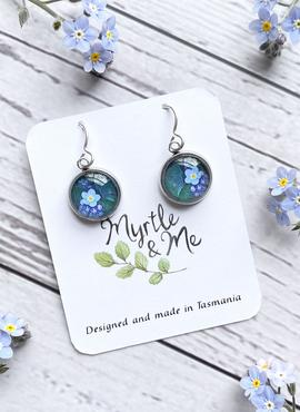 Drop Earrings with Forget me Not Design by Myrtle & Me (Made in Tasmania)