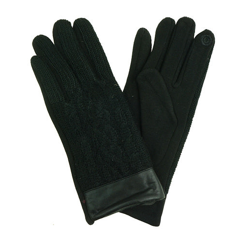 Ladies gloves in black with knit design