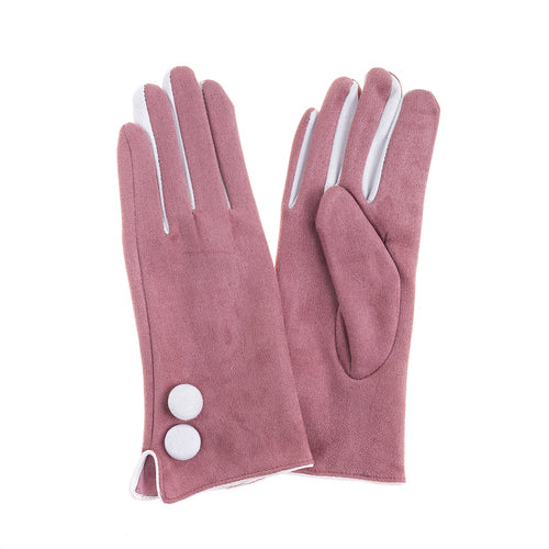 Ladies gloves by Evelyn - pink and white or black and white