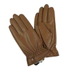 Gloves in imitation leather and camel colour