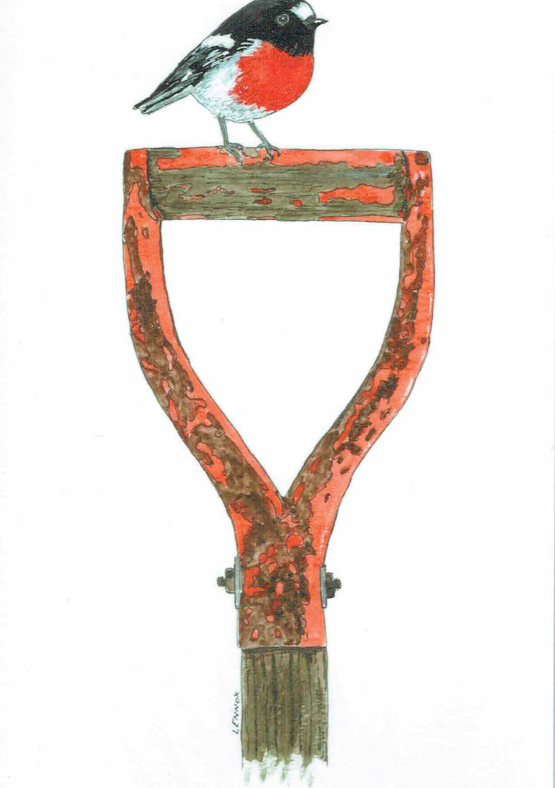 "Card ""Handle with Care - Scarlet Robin on a Spade Handle"" by Tasmanian Artist Grant Lennox"
