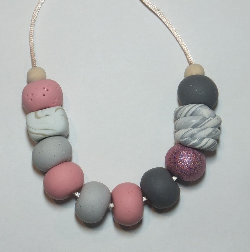 Necklace in Pinks, Purple White/Grey on Adjustable Cord by LillyMay