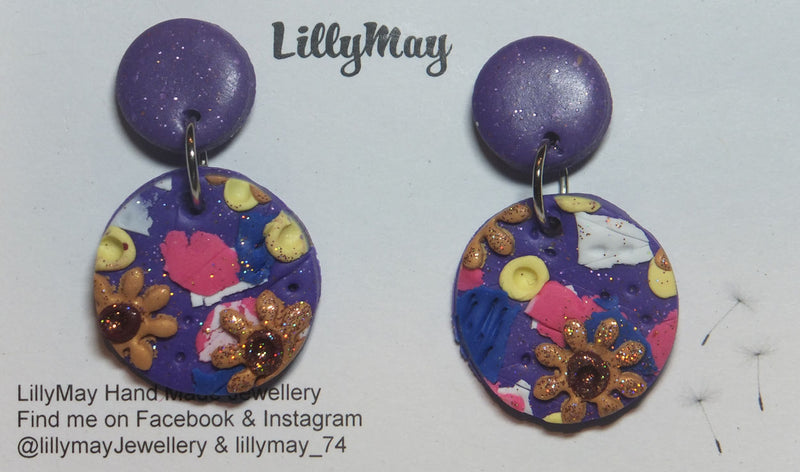 Drop Earrings with Surgical Steel Clasps - small Purple dot with a large Purple multi coloured dot below, by LillyMay