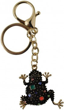 Keyring with large black bejeweled frog - LaVida