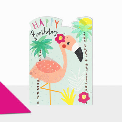 Happy Birthday Card with Flamingo Design