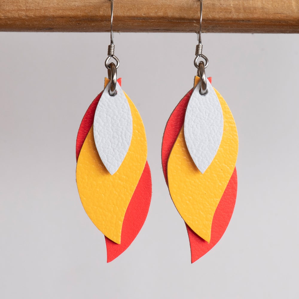 Kangaroo leather leaf earrings in white, yellow and coral