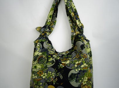 Ladies Fabric Bag with Adjustable Strap in Black Floral Japanese
