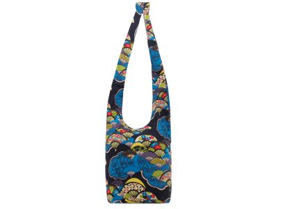 Bag - lady cross body bag - blue Japanese pattern