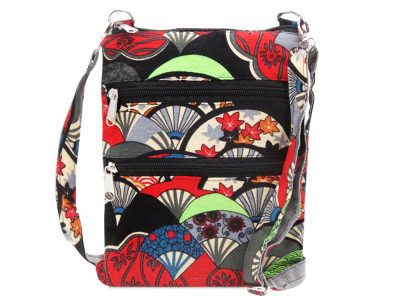 Ladies Cross Body Fabric Bag in black Japanese pattern