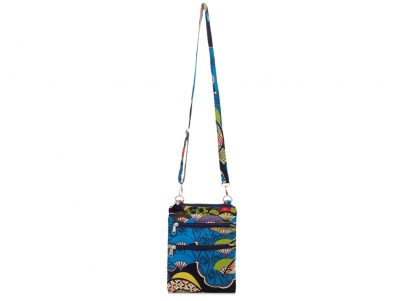 Ladies Cross Body Fabric Bag in  blue Japanese pattern