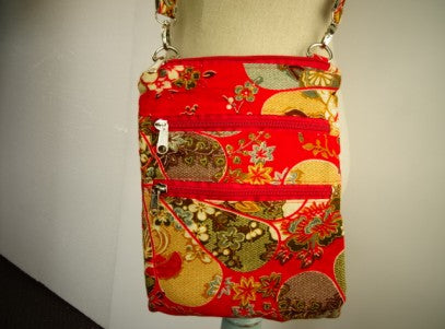 Ladies Cross Body Fabric Bag - Red Japenese Pattern