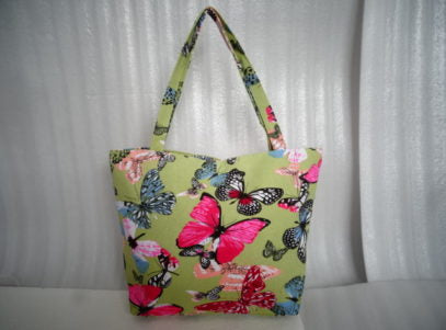 Ladies Canvas Tote Bag in Green with Butterflies