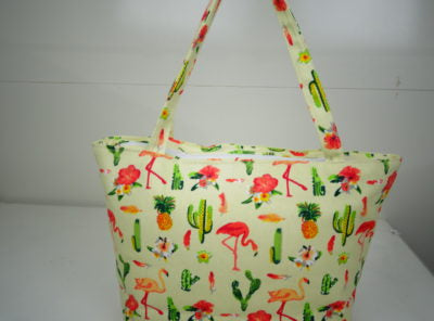 Ladies Canvas Tote Bag in Cream with Flamingos