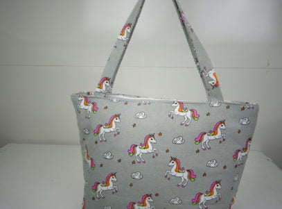 Ladies Canvas Tote Bag in Grey with Unicorns