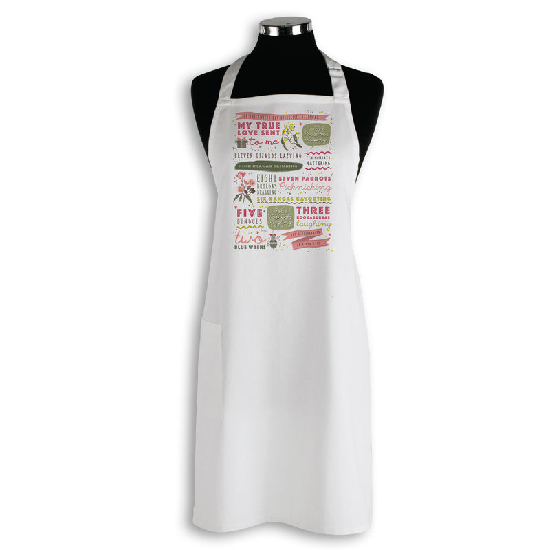 Australian Made Apron with Australian Themed 'Twelve Days of Christmas' Print