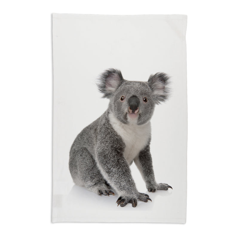 Animal Australian Organic Tea Towel in White with Koala Design