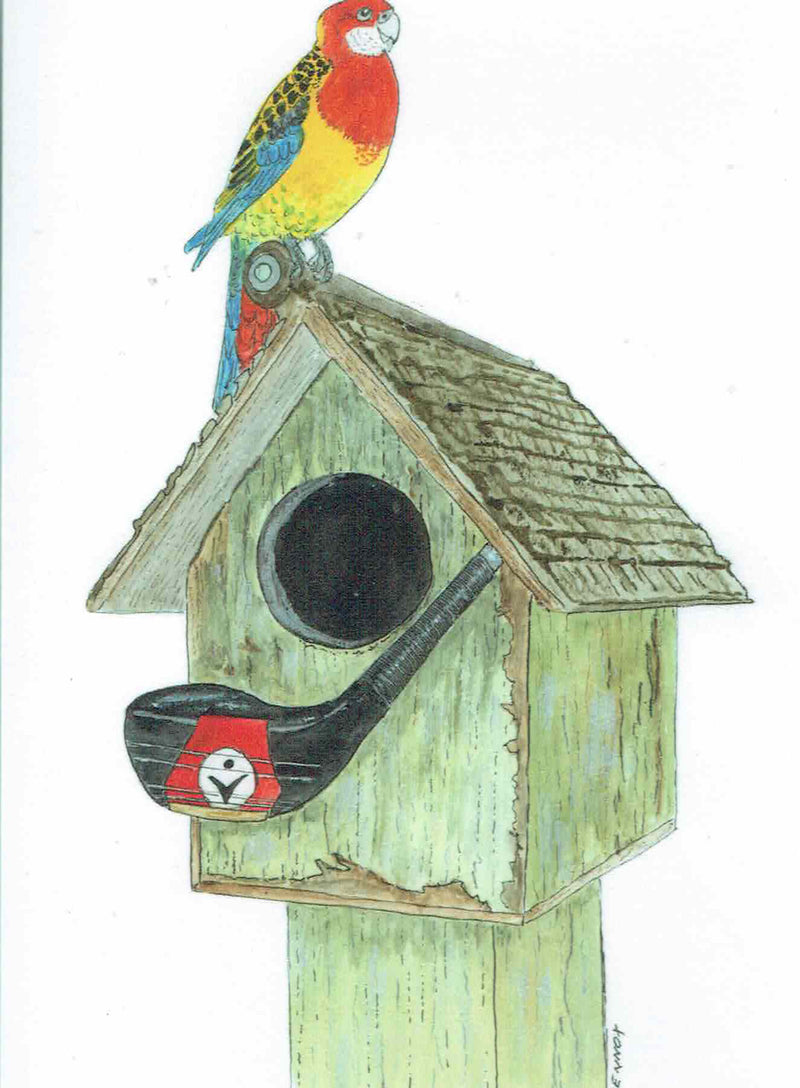 "Card ""Old Club House with Eastern Rosella"" by Tasmanian Artist Grant Lennox"