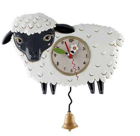 Pendulum wall clock hand painted black sheep