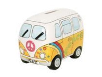 Money box - Ceramic Camper van in Psychedelic Yellow