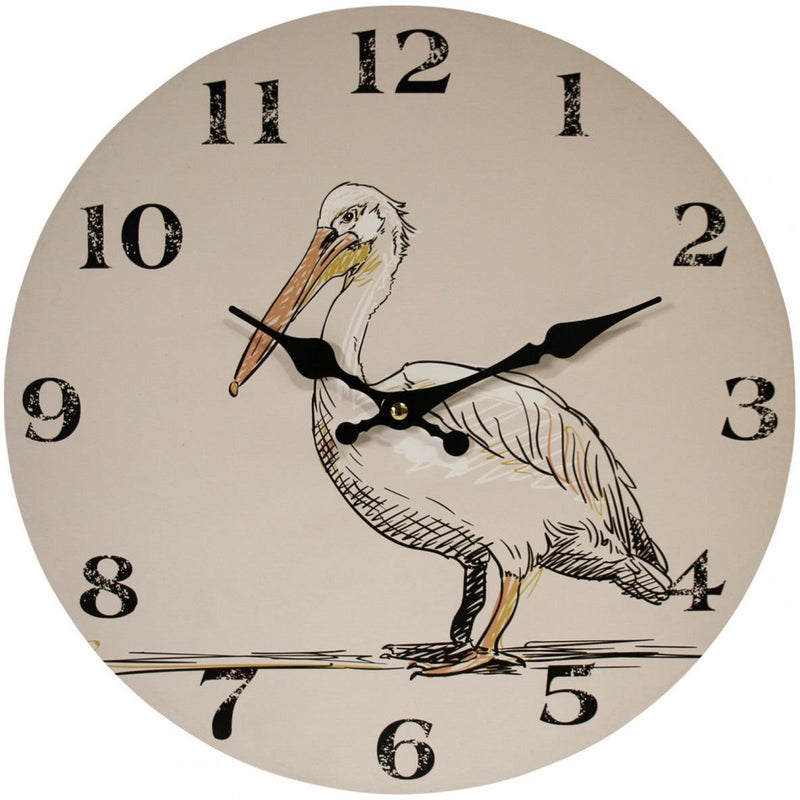 Round Wall Clock pelican on white background