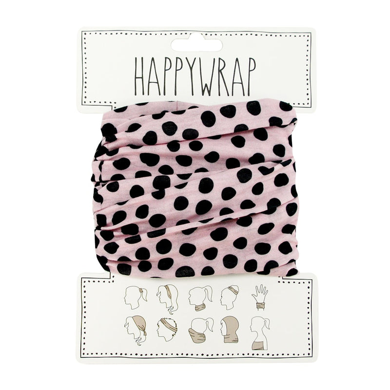 Happywrap for Hair, Head, Wrist or Neck Wrap or Face Mask - Pink with Black Dots