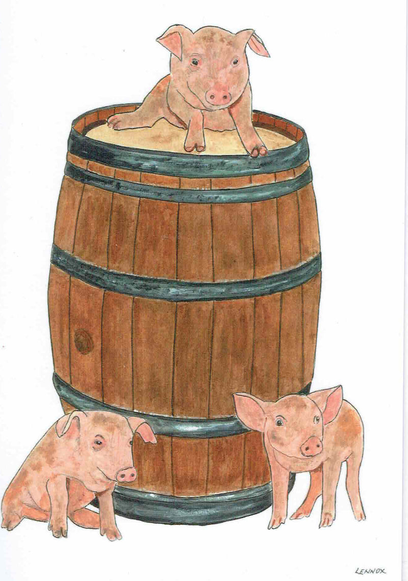 "Card ""Pork Barrel"" by Tasmanian Artist Grant Lennox"