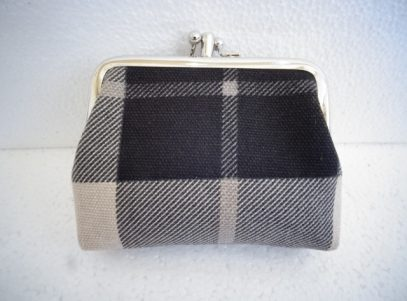 Canvas Coin Purse in Black and Cream Tartan