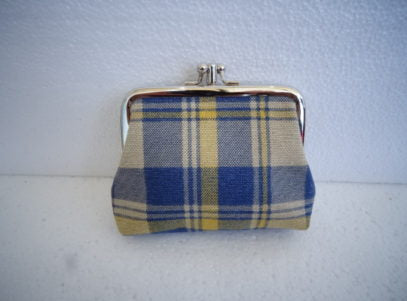 Coin Fabric Purse with Double Clip in Tartan Blue