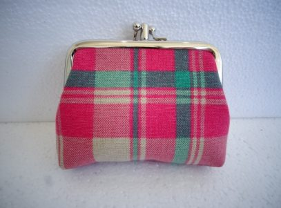 Canvas Coin Purse in Cream and Pink Tartan
