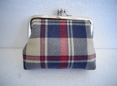 Canvas Coin Purse in Navy and Red Tartan