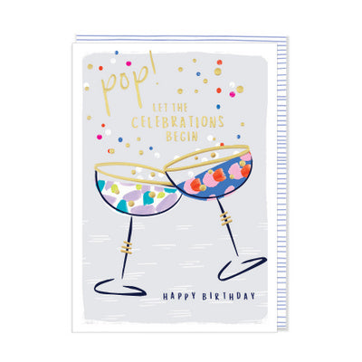 Card - Happy Birthday - Pop! let the celebrations begin