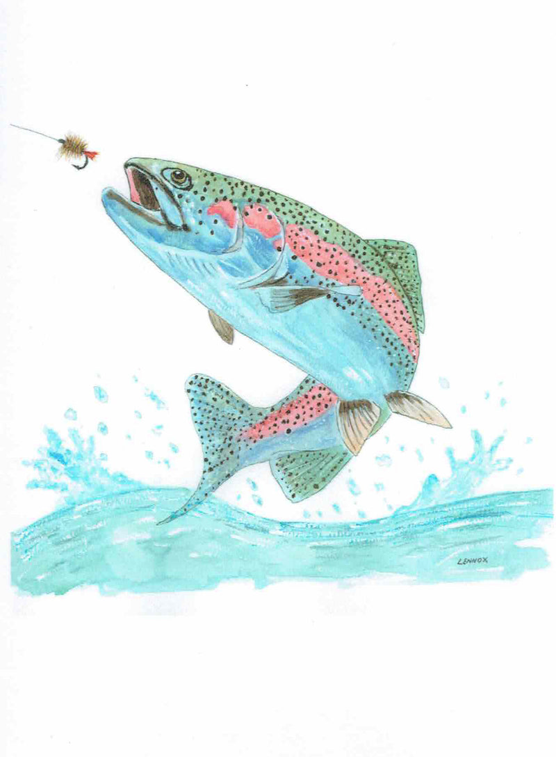 "Card ""Rainbow Trout Leaping"" by Tasmanian Artist Grant Lennox"