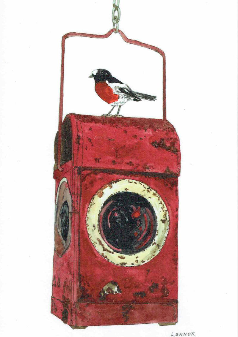 "Card ""Red Light District - Scarlet Robin on PMG Lantern"" by Tasmanian Artist Grant Lennox"
