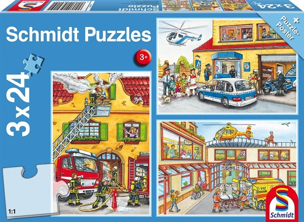 Fire Brigade & Police 3 x 24 Piece Schmidt Jigsaw Puzzle for Ages 3+
