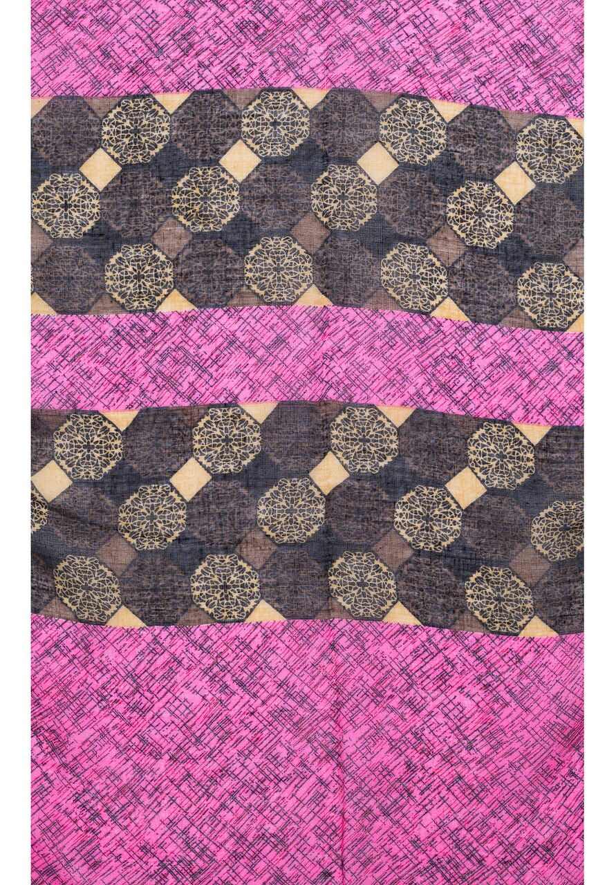 Ladies Lightweight Scarf in Hot Pink with Black and Grey Circle Designs (55x165cm)