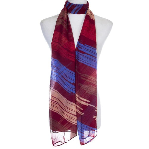 Ladies Lightweight Scarf with Red and Blue Tones