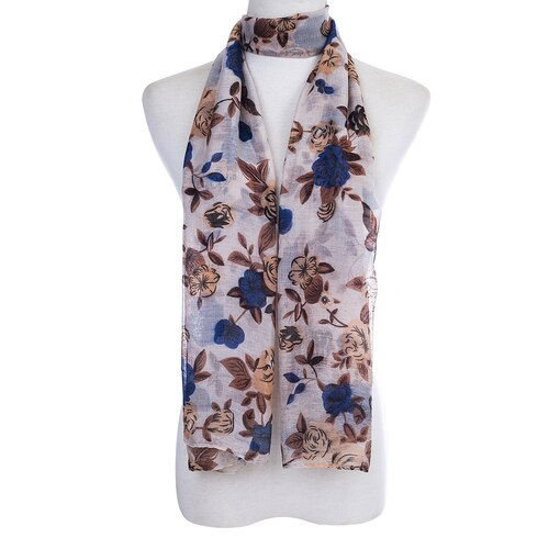 Ladies Lightweight Scarf in Beige and Blue Floral (55 x 165cm)