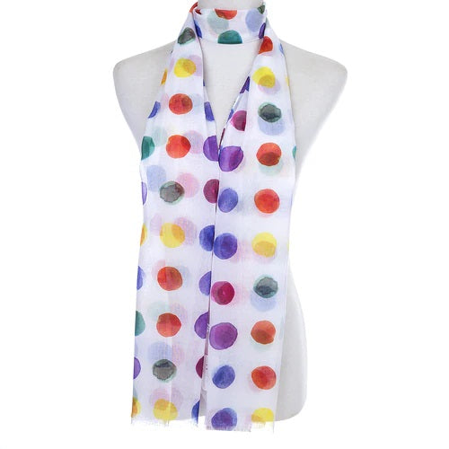 Ladies Lightweight Scarf in White with Multi Colour Polka Dots (55 x 165cm)