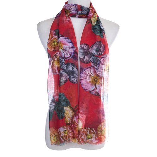 Ladies Lightweight Scarf in Red & Decorative Floral  Print (55 x 165cm)