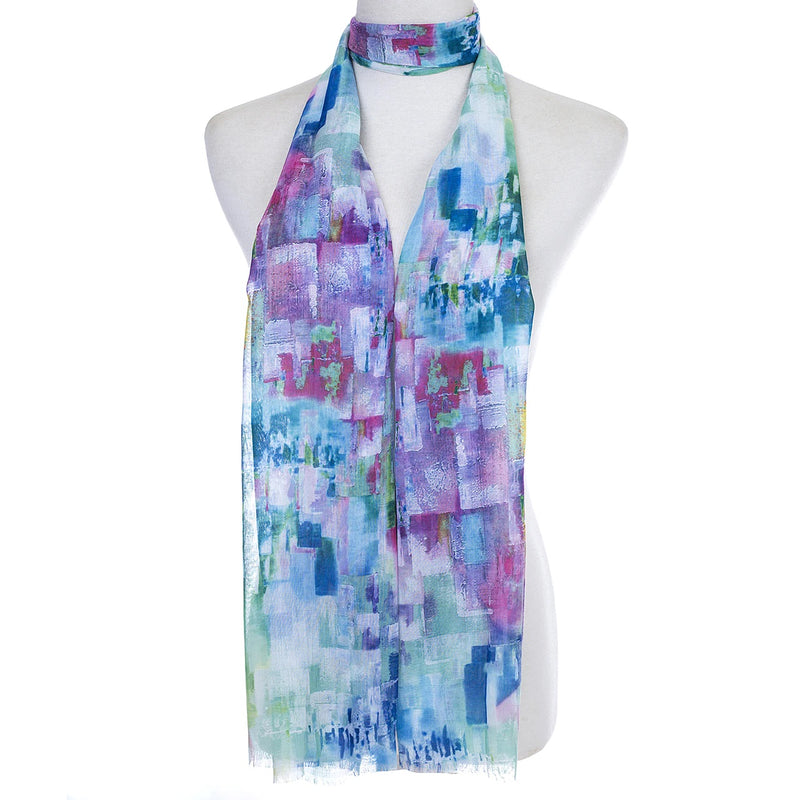 Ladies Lightweight Scarf in Blurry Oil Painting Hues (55 x 165cm)