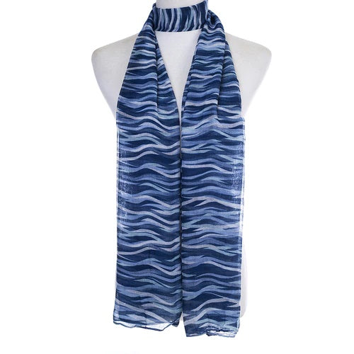 Ladies Lightweight Scarf in Navy and Light Blue Wave Effect (55 x 165cm)