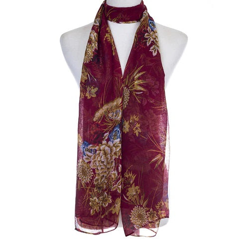 Ladies Lightweight Scarf in Red with Floral Design (55 x 165cm)