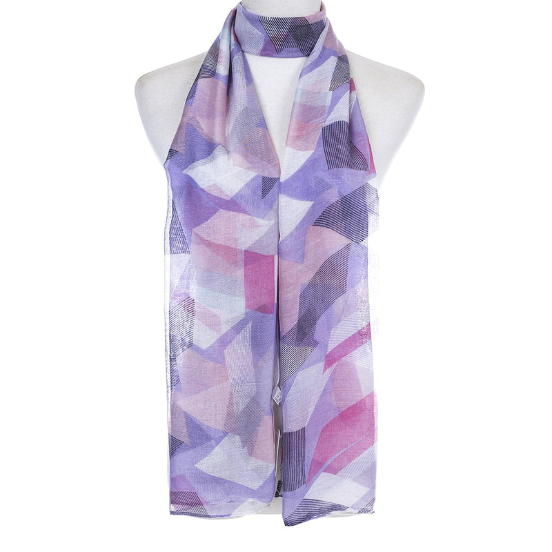 Ladies Lightweight Scarf in Lilac with Pink & White Tones  (55 x 165cm)