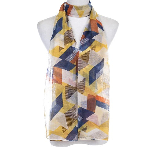 Ladies Lightweight Scarf in Yellow, Blue, Orange & White Abstract Design (55 x 165cm)