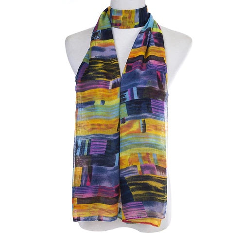 Ladies Lightweight Scarf in Yellow and Assorted Colours and Bands (55 x 165cm)