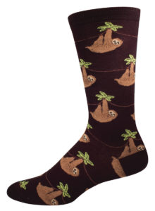 Novelty Socks for Men - Sloth on Black by SockSmith