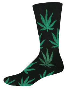 Novelty Socks for Men with Hemp Leaves on Black by SockSmith