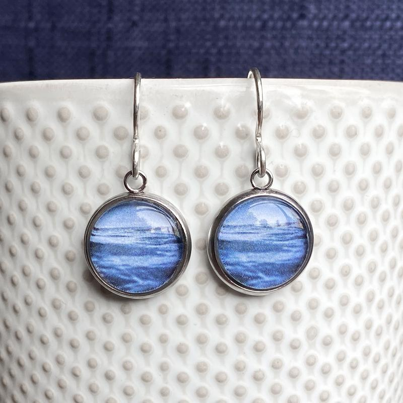 Drop Earrings with Sea and Sky Design by Myrtle & Me (Made in Australia)