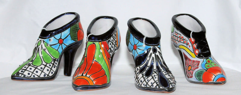 Mexican Talavera Pottery Planter - High Heel Shoe
