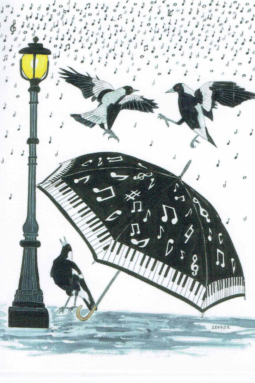 "Card ""Singing in the Rain"" by Tasmanian Artist Grant Lennox"